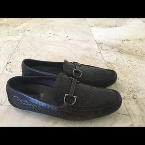 Salvatore Ferragamo Driver Brown Woven Loafer